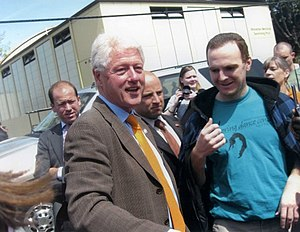 Hillary Clinton presidential campaign, 2008 - Bill Clinton campaigning for Hillary Clinton in Monmouth, Oregon.