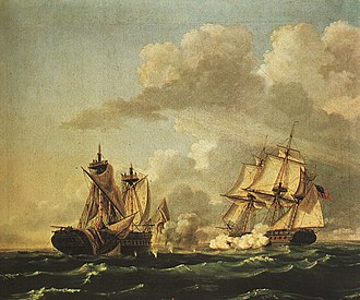 USS United States (1797) - Naval Battle Between the United States and the Macedonian on 30 Oct 1812 by Thomas Birch, 1813