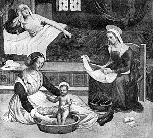 Birth of John; the child being bathed, by Pinturicchio Wellcome M0013509.jpg