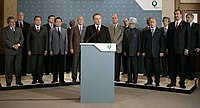 Press conference at G8 Summit (Paul Wolfowitz standing at rear on right)