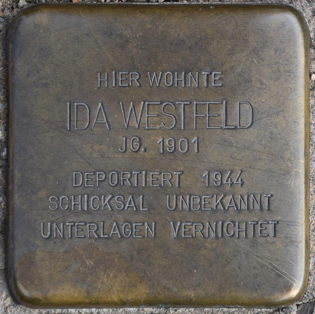 Blankenburg (Harz), Markt 5, Stolperstein Ida Westfeld