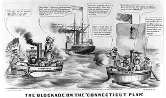Economy of the Confederate States of America - Cartoon mocking the initially ineffective attempts of the North to blockade the Confederacy