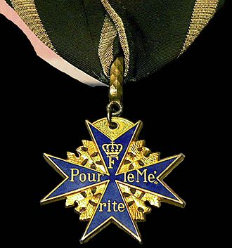 "The Blue Max - Pour le Mérite, informally known as the ""Blue Max"", the highest military honour that the Kingdom of Prussia could bestow during World War I."