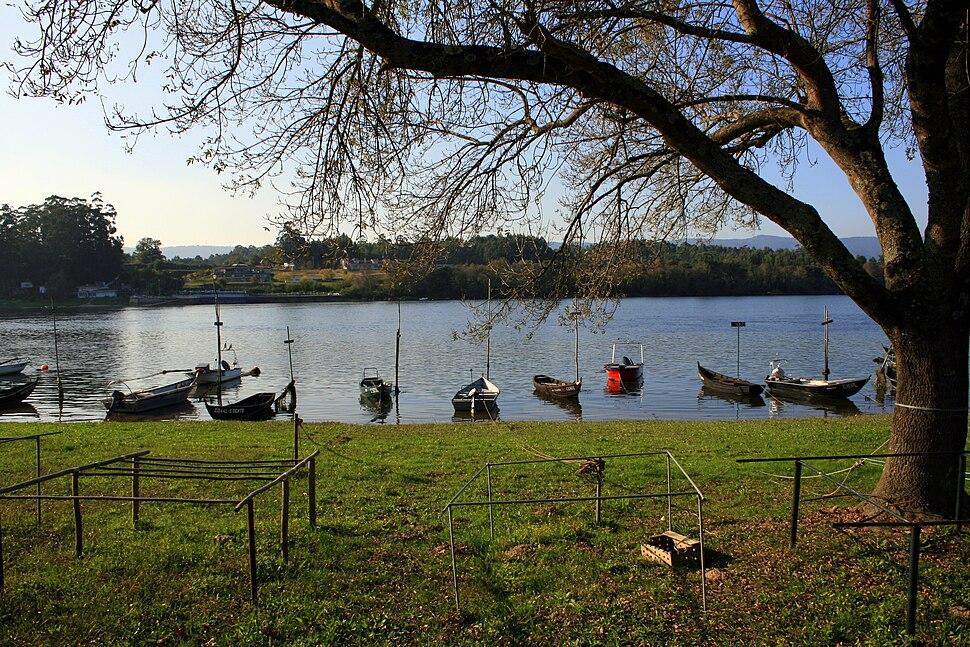 Boats in Minho river in Vila Nova de Cerveira, Portugal