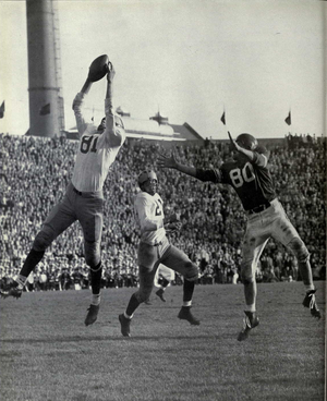 Bob Topp - Topp makes a leaping catch against Michigan State, 1953