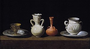 Bodegón - Bodegón or Still Life with Pottery Jars, by Francisco de Zurbarán. 1636, Oil on canvas; 46 x 84 cm; Museo del Prado, Madrid