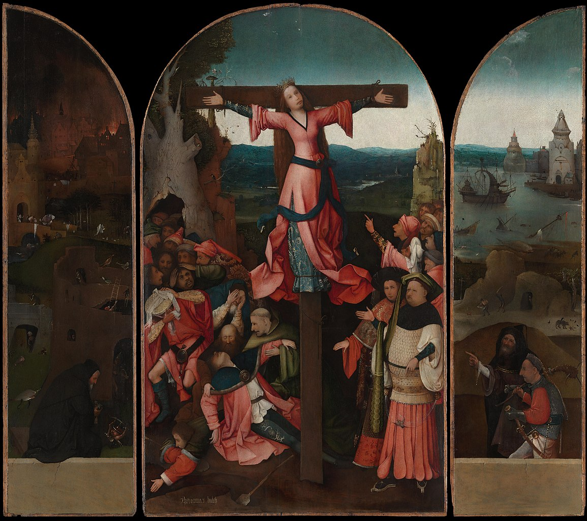 The Crucified Martyr Saint Julia By Dutch Artist Hieronymus Bosch Wears Red Traditional Color Of Christian Martyrs