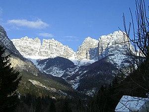 Val di Zoldo - winter landscape of the town.