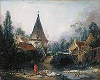 Купить набор для вышивания крестиком Goblenset Пейзаж с мельницей (арт.  632) в магазинчике рукоделия fuby.ru.