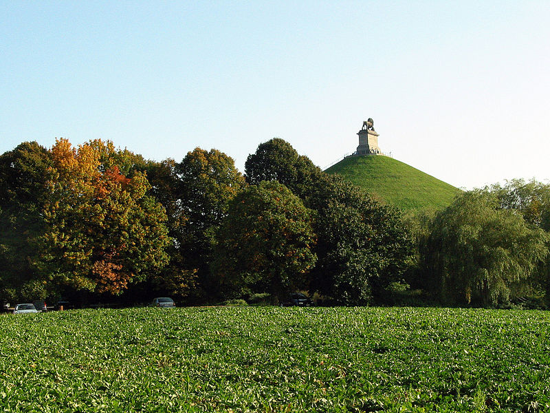 Braine-l'Alleud, the Lion Mound. - Commemorative monument of the Battle of Waterloo standing on the spot where the Prince of Orange was wounded during the fight.