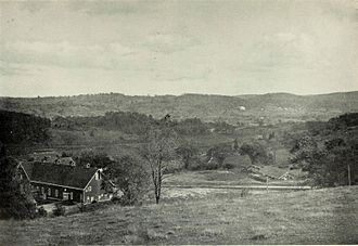 Briarcliff Manor, New York - A portion of the village in 1901, with Briarcliff Farms' Barn A in the foreground and the School of Practical Agriculture in the background
