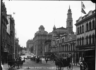 Bridge Street, Sydney - View east along the middle section of Bridge Street, with the Department of Lands building on the right