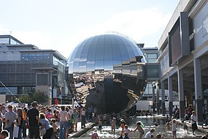 """Bristol Harbour Festival - The Planetarium (a large stainless-steel sphere), and people outside of """"At-Bristol"""" at the Bristol Harbour Festival in 2008."""