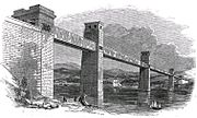 The original box section Britannia Bridge, in a circa 1852 illustration