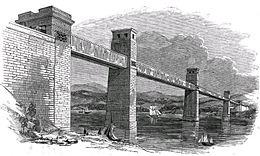 Drawing of bridge as rectangular tunnel supported by stone trestles in river below.