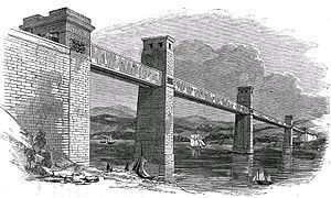 1850 in rail transport - The original box section Britannia Bridge