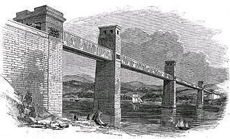 Britannia Bridge - The original box section Britannia Bridge, circa 1852.