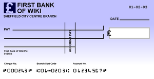 Cheque sample for a fictional bank in the Unit...