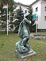 Bronze statue with hat. At the Gyöző Street's Entrance of the University of Physical Education - Budapest 12.JPG