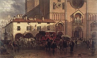 Piacenza Cathedral - Edward Lamson Henry (American, 1841 - 1919). The Cathedral of Piacenza, 1868. Oil on panel. Brooklyn Museum