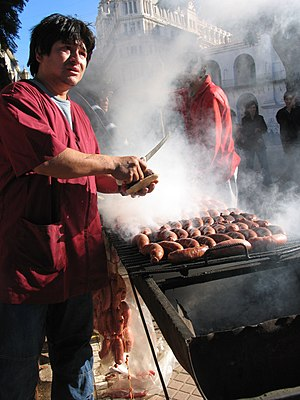Choripán - Street sale of choripanes in Plaza de Mayo, Buenos Aires, Argentina during a political rally. There are no permanent choripán sellers in Plaza de Mayo.