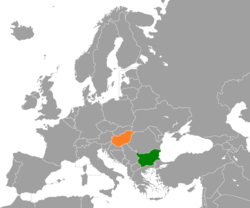 Map indicating locations of Bulgaria and Hungary