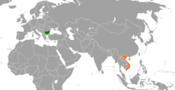 Map indicating locations of Bulgaria and Vietnam
