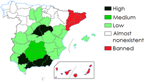 Bullfighting in provinces of Spain as of 2012.