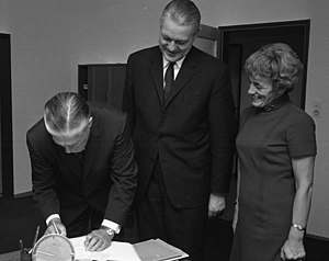 Lenore Romney - Lenore with her husband George (far left) and West Germany's Gerhard Stoltenberg (center) in 1967