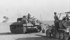 Battle of Gazala - Panzer III and Rommel's command vehicle in the western desert at the time of the Gazala battles.