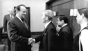 Takeshi Araki - Takeshi Araki shakes hands with Erhard Krack in 1987.