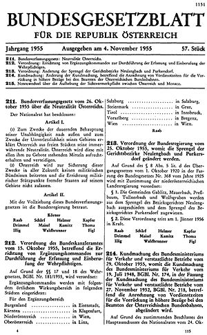 Declaration of Neutrality - The Bundesgesetzblatt containing the Federal Constitutional Law on the Neutrality of Austria.