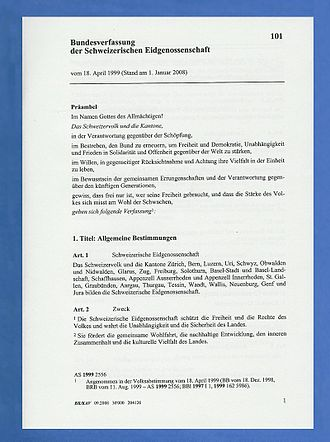 Swiss Federal Constitution - First page of the German version of the constitution of 1999.