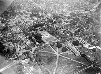 Gambir, Jakarta - An aerial picture of the northeast corner of Koningsplein showing the palace of the governor-general which is now the Merdeka Palace