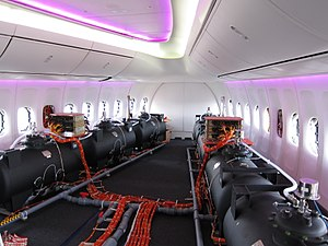 Chemtrail conspiracy theory - Ballast barrels in a prototype Boeing 747. Photographs of flight test barrels are sometimes said to show chemtrail planes.