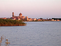 View of Cabras from the pond