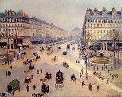 Camille Pissarro: Place du Théâtre-Francais and the Avenue de l'Opéra, Sunlight, Winter Morning