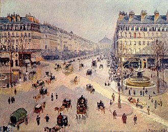 Haussmann's renovation of Paris - Napoleon III instructed Haussmann to bring air and light to the center of the city, to unify the different neighborhoods with boulevards, and to make the city more beautiful. The avenue de l'Opéra, created by Haussmann,  painted  by Camille Pissarro  (1898).