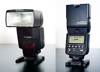 Canon EOS - A Speedlite 550EX, an early E-TTL flash from 1998