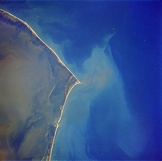 Hatteras Island - Hatteras Island as seen in a satellite photo. North is to the upper left corner.