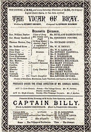 Captain Billy - Savoy Theatre programme for double bill of Captain Billy and The Vicar of Bray