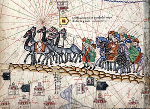 Pax Mongolica - A close up of the Catalan Atlas depicting Marco Polo travelling to the East during the Pax Mongolica
