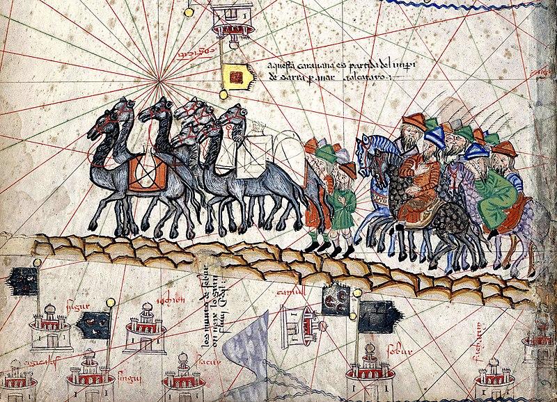 Bản đồ chi tiết Catalan miêu tả Marco Polo đi về phía Đông trong thời kỳ Pax Mongolica. (Ảnh:Wikipedie)