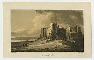 John Thomas Barber Beaumont - Carew Castle, engraving by Samuel Alken after John Thomas Barber.