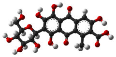 Ball-and-stick model of carminic acid[citation needed]