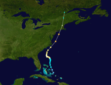 Track of Hurricane Carol, beginning near the Bahamas and ending over Canada