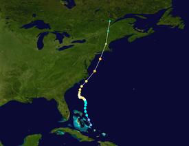 Spur des Hurrikans Carol, beginnend in der Nähe der Bahamas und endend über Kanada