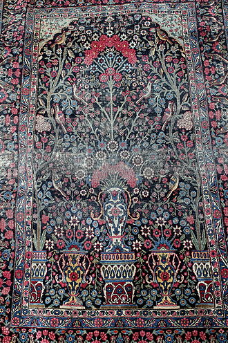 Prayer rug - Carpet with Tree of life, birds, plants, flower and vases