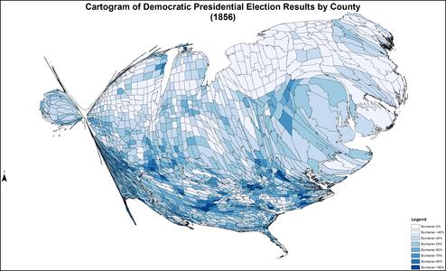 CartogramDemocraticPresidentialCounty1856Colorbrewer
