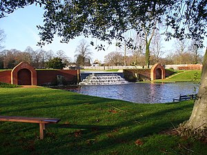 Upper Lodge Water Gardens - Cascade and lower pond showing both stoop basins and both alcoves